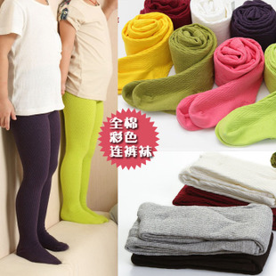 4 pairs of girls 2014 autumn new candy colored pantyhose step foot socks thickening elastic leggings pilling
