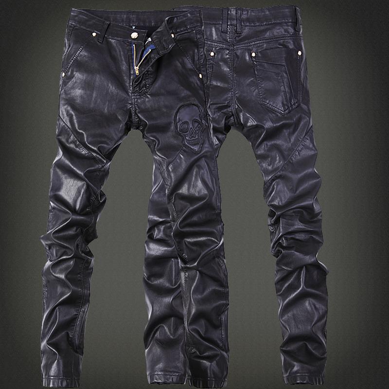 冬季潮流个性拉链韩版小脚修身男士黑色皮裤子机车演出紧身男皮裤