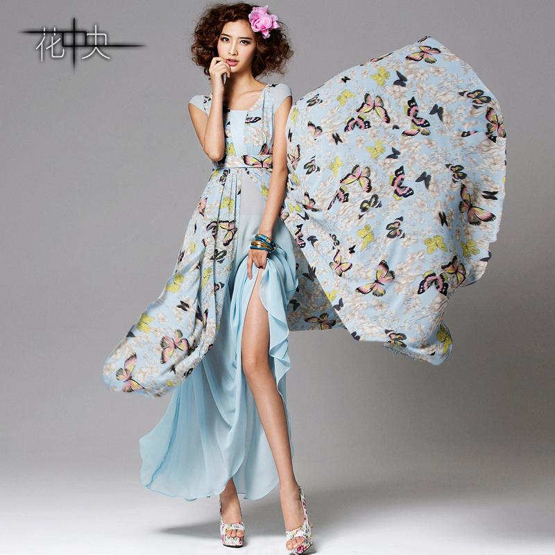 花中央春夏季新品 波西米亚长裙园领短袖花色雪纺连衣裙沙滩裙