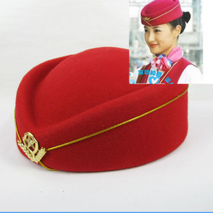 Phnom Penh stewardess uniforms caps career hat wool beret hat cap stage performance cap hat etiquette hotel