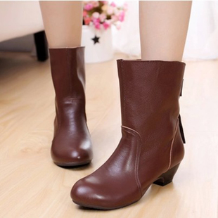 Spring 2015 new full leather boots with leather boots singles in large yards shoes cotton boots winter 43