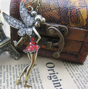 European and American trade jewelry vintage diamond angel wings little girl sweater chain necklace x0528