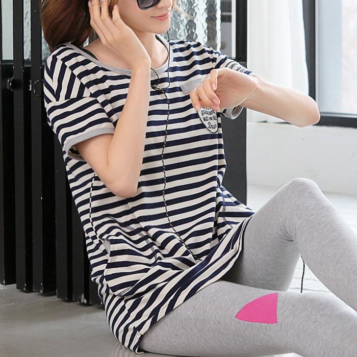 條紋短袖t恤女純棉寬鬆打底衫中長款大碼體恤女裝秋裝2016 潮