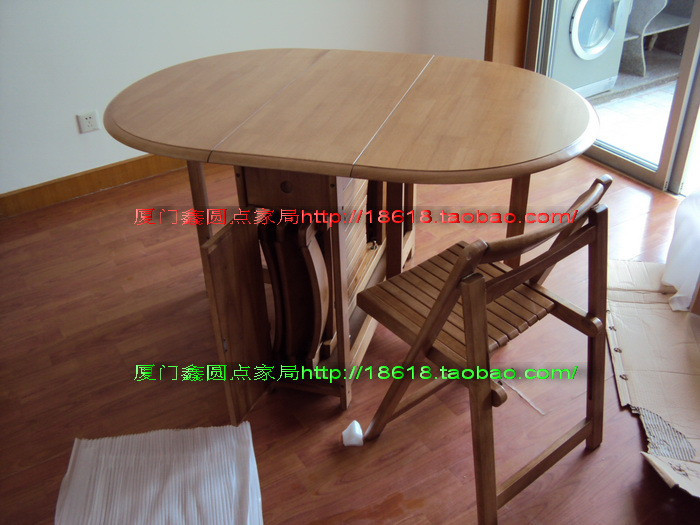 Single apartment small flat oval solid wood folding table 1 + 4 sets, Xiamen island free delivery door