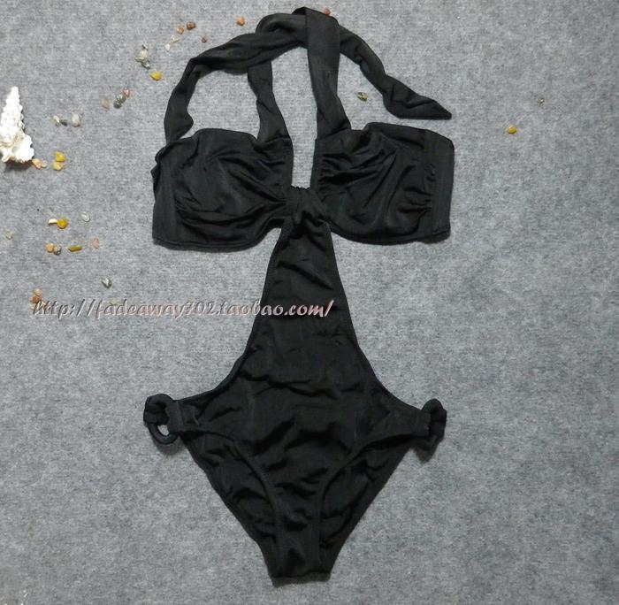 抄底价出口  全双层 质感浓烈 黑色显瘦性感比基尼连体泳衣