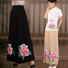 Kapok, Tang suit cotton and linen skirts pants Handpainted national wind summer 2013 new plus-size package mail