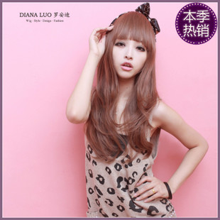 Anna Luo scroll fluffy magazines simulation matte repair face real shot lovely long hair wig 1420
