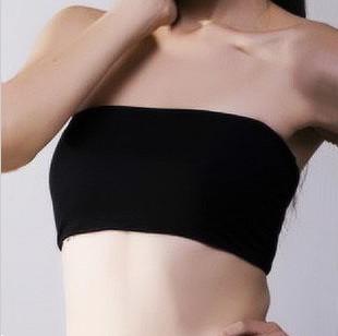 春夏黑白色蕾丝平板莫代尔纯棉抹胸女防走光裹胸无痕打底内衣