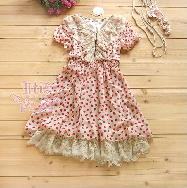RMB 69 package mail summer dress Korean version hot drill lace V-neck short sleeve Waist Dress Chiffon Dress