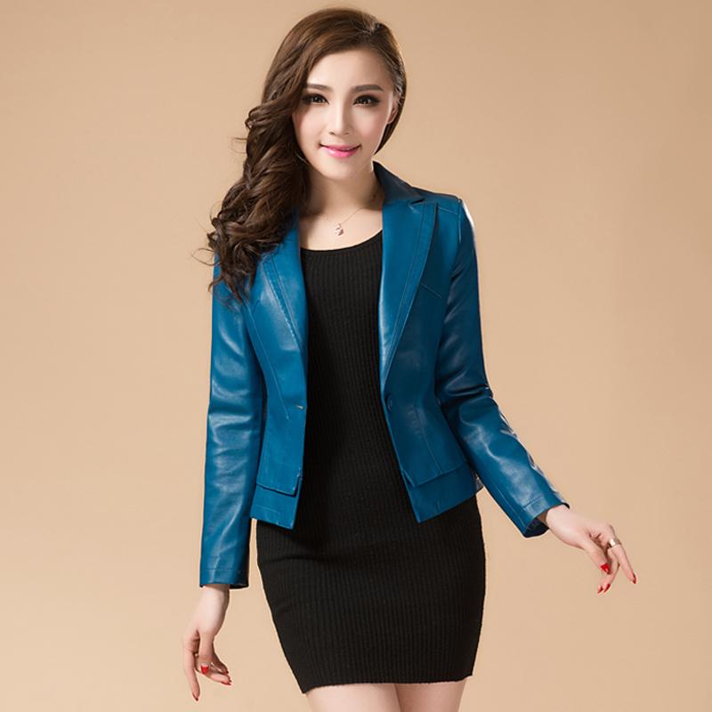 Новые дамы Женская дамы короткие овчины Кожа кожа небольшой тонкий кожаные костюмы кожаные куртки