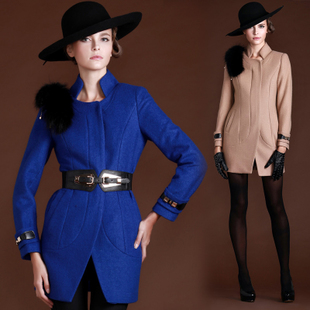 2013 autumn and winter woolen coat Slim raccoon fur collar woolen coat female woolen coat female Korean