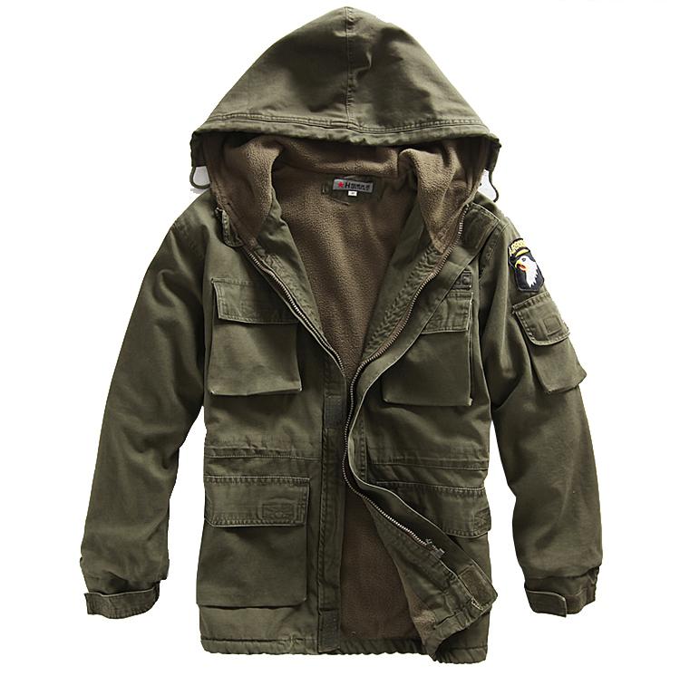 FireWire бесплатно вентилятор одежда Мужская открытый армии 101 воздушно-десантной дивизии с капюшоном зимнее пальто в Andes ватки