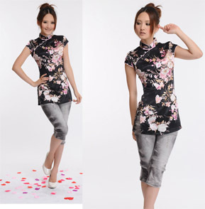 Bao fragrance Fantasia Splendor silk cheongsam black peach improved cheongsam jacket 6028