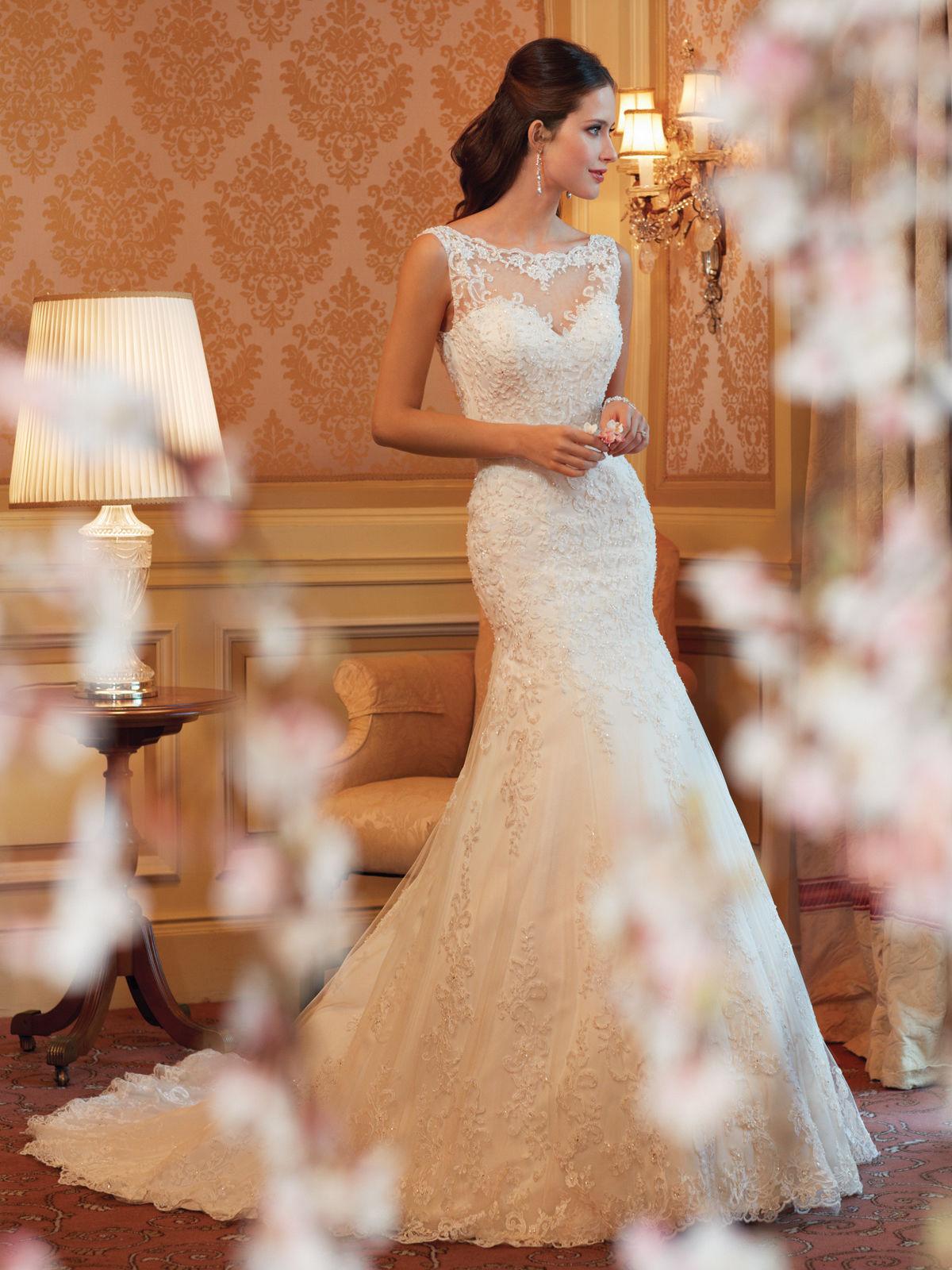 к 2015 году новые кружева плечо ретро дворца спинки маленький хвост хвост self свадьбы свадебное платье