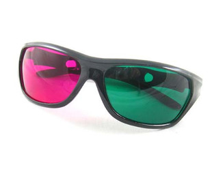 The new trendy green resin 3D glasses 3D movie glasses red glasses gift bags