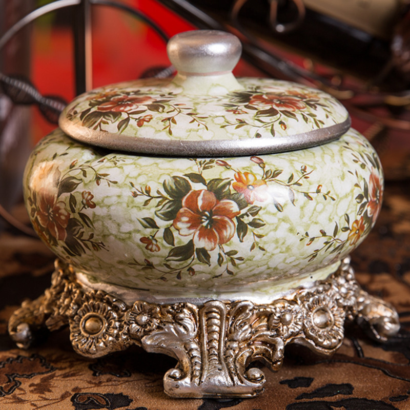 欧式复古时尚烟灰缸树脂创意田园美式时尚家居摆件烟灰缸 带盖,可领取3元天猫优惠券