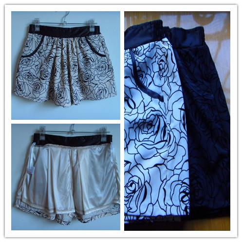 Export ready-made clothes versatile slim three-dimensional flocking rose pattern elastic waist black and white shorts skirt pants hot pants