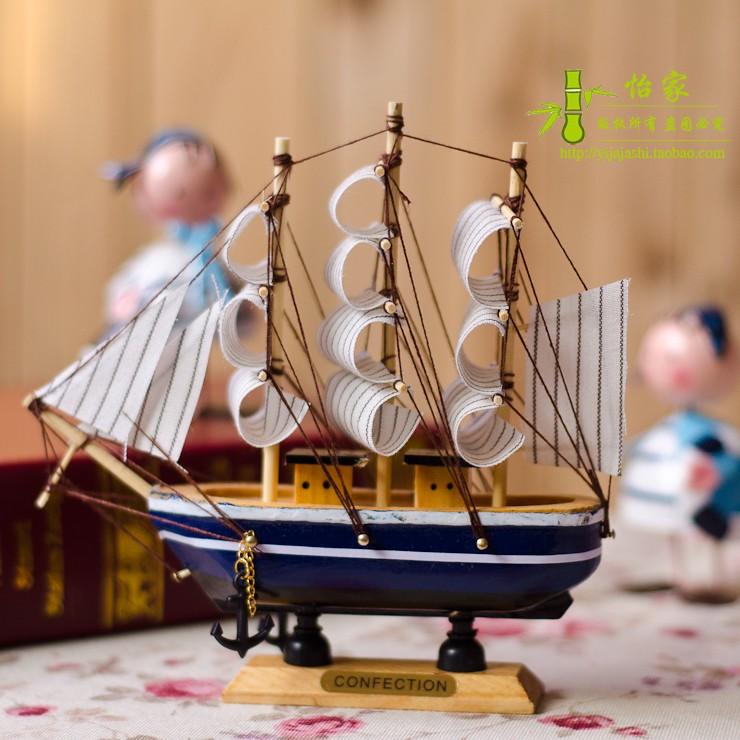 地中海风格创意家居装饰品手工艺品木制帆船模型摆件一帆风顺摆设