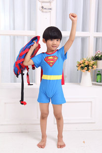 Oversized! ! Cool boy Superman modeling swimwear + cap child swimsuit / wholesale