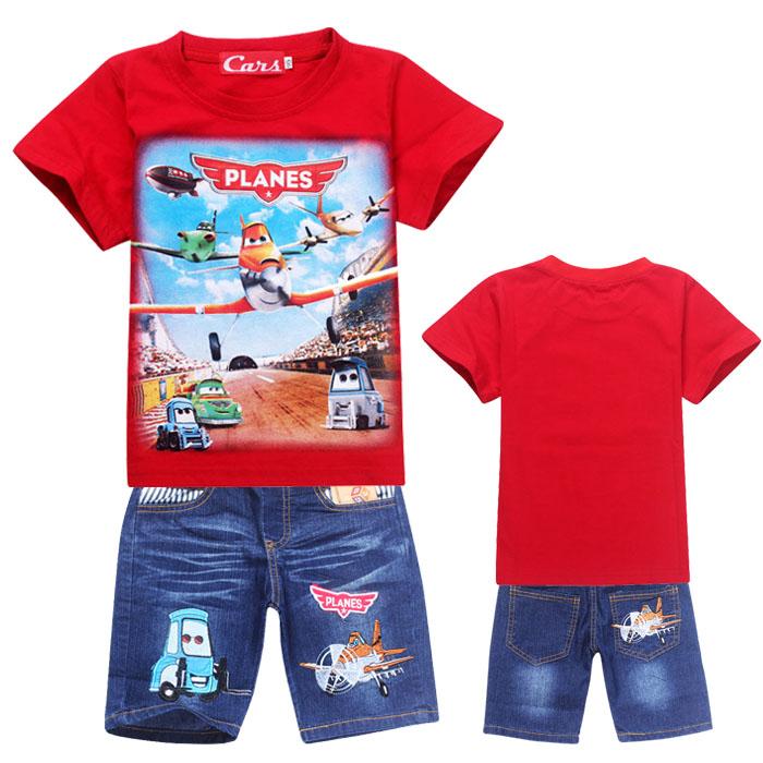 Дети мальчики лето 2015 новый самолет история коротким рукавом шорты костюм детей мультфильма джинсы фонда