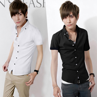 2015夏季新款时尚潮流修身纯色潮男男士短袖衬衫韩版男款中袖