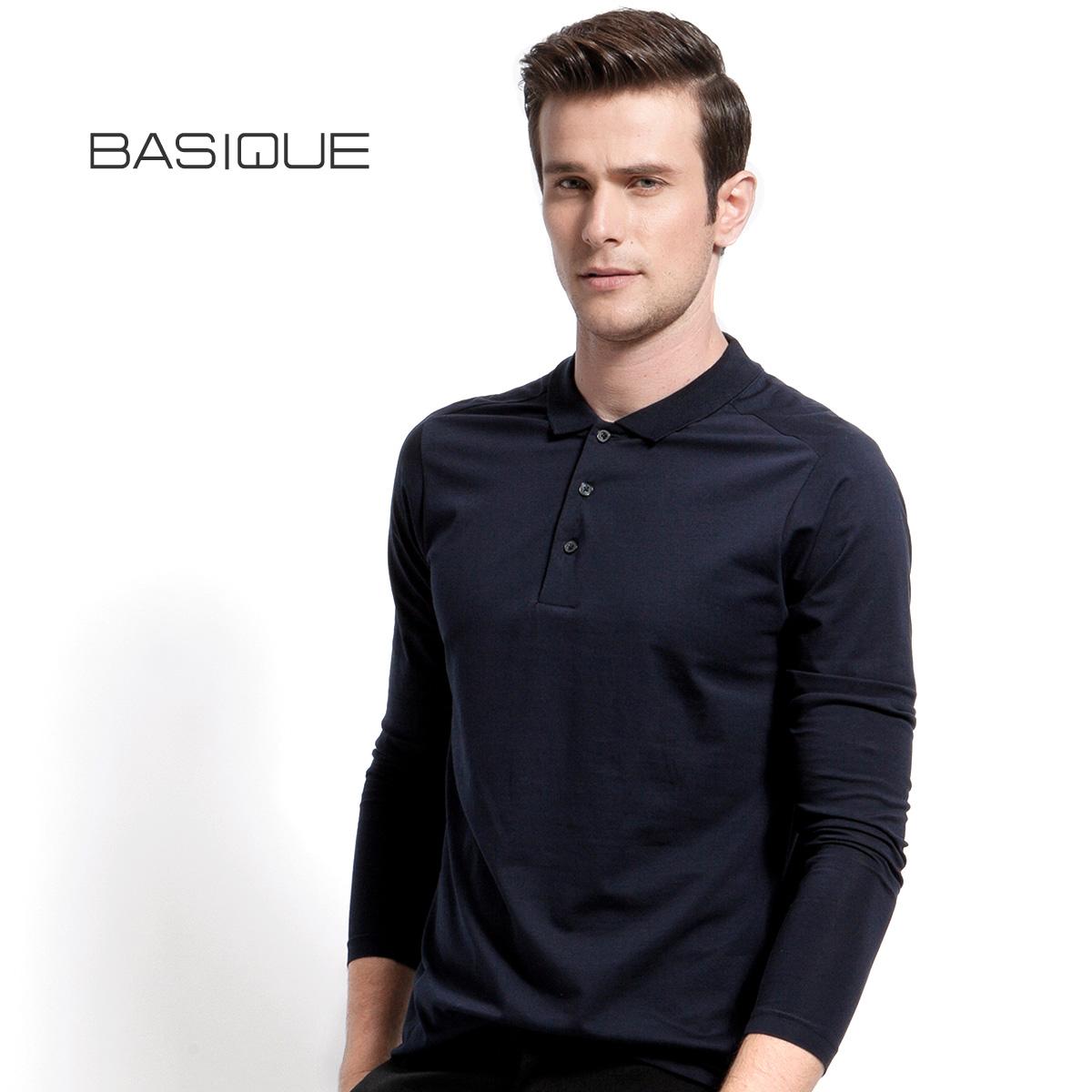 BASIQUE юань это новый тонкий длинный рукав POLO рубашка высокое качество месеризованный хлопок мужской T футболки