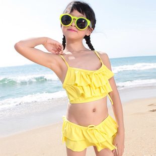 Yuet Wah day 2014 new children child baby girls swimwear bikini swimsuit split skirt female big boy