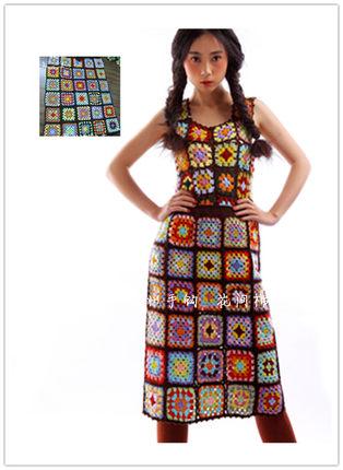 森林系复古民族 苍井优钩花彩色针织半身裙 中裙毛线裙