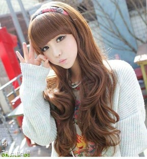 High grade non mainstream wig lovely long hair oblique bangs repair face long hair curls 001