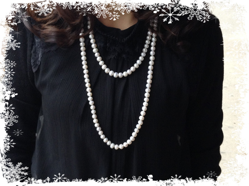 Special price genuine natural freshwater pearl sweater chain 8-9mm long pearl necklace multi layer versatile classic