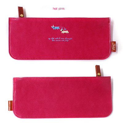 韩国进口文具JETOY Hello joozoo pencil case 皮革笔袋-hot pink