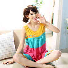 Ms summer new short sleeve woven cotton pajamas outside wear han edition vest leisurewear thin cartoon pajamas