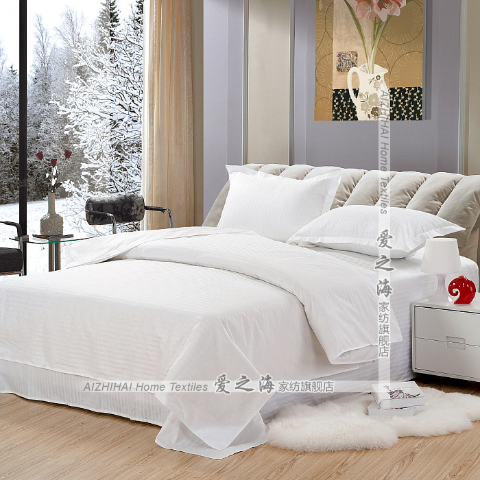 Акции отель постельные принадлежности оптом атласная сплошной цвет белый сатин хлопок набор из трех или четырех