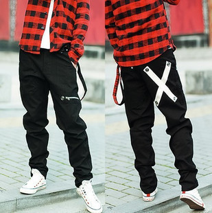 Korean version of the influx of non mainstream men s pants tapered pants feet pants neutral cross pants hip hop pants with belt