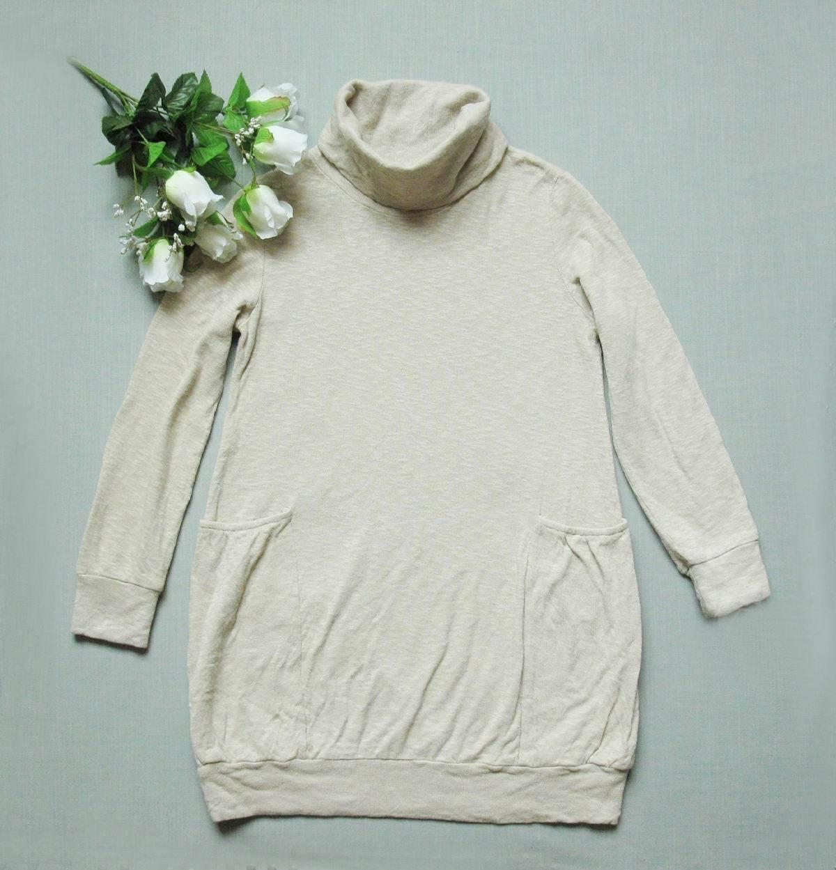 店庆85折  浅奶咖啡色 长款高领有口袋T恤 S  两件包快   0620