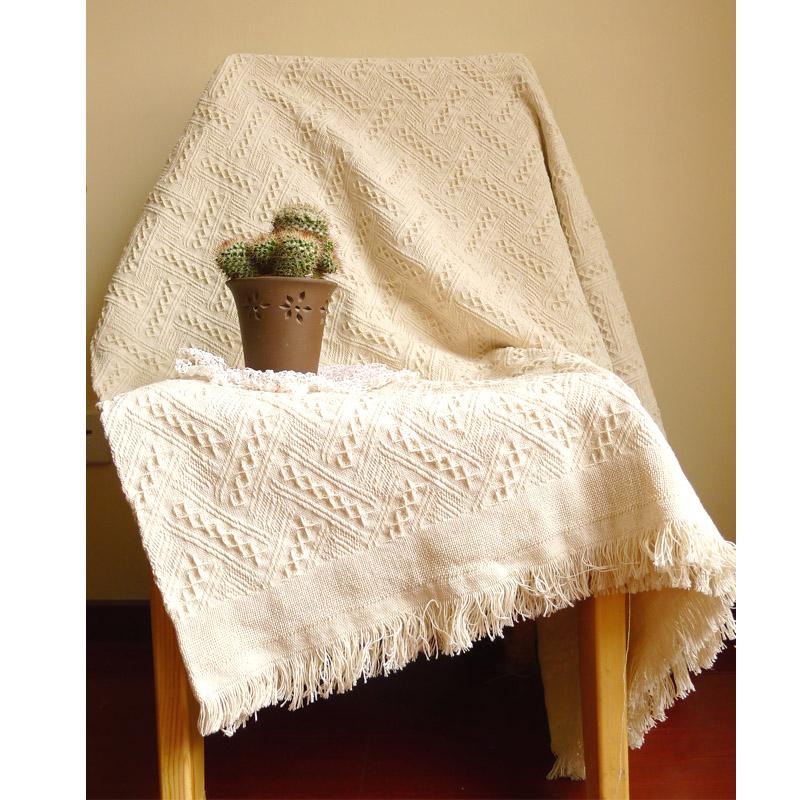 美式沙发毯子沙发巾盖毯北欧地中海客厅纯色棉针织流苏沙发线毯