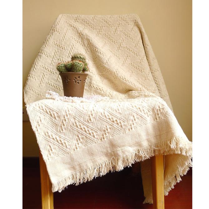 沙发毯子沙发巾盖毯北欧地中海客厅纯色棉针织流苏沙发线毯 美式