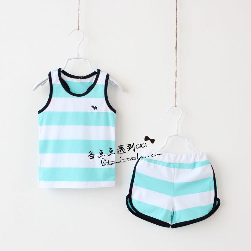 Летние стили внешней торговли Детская одежда костюмы для мальчиков и девочек корейских детей джинсы жилет шорты двух частей комплекта