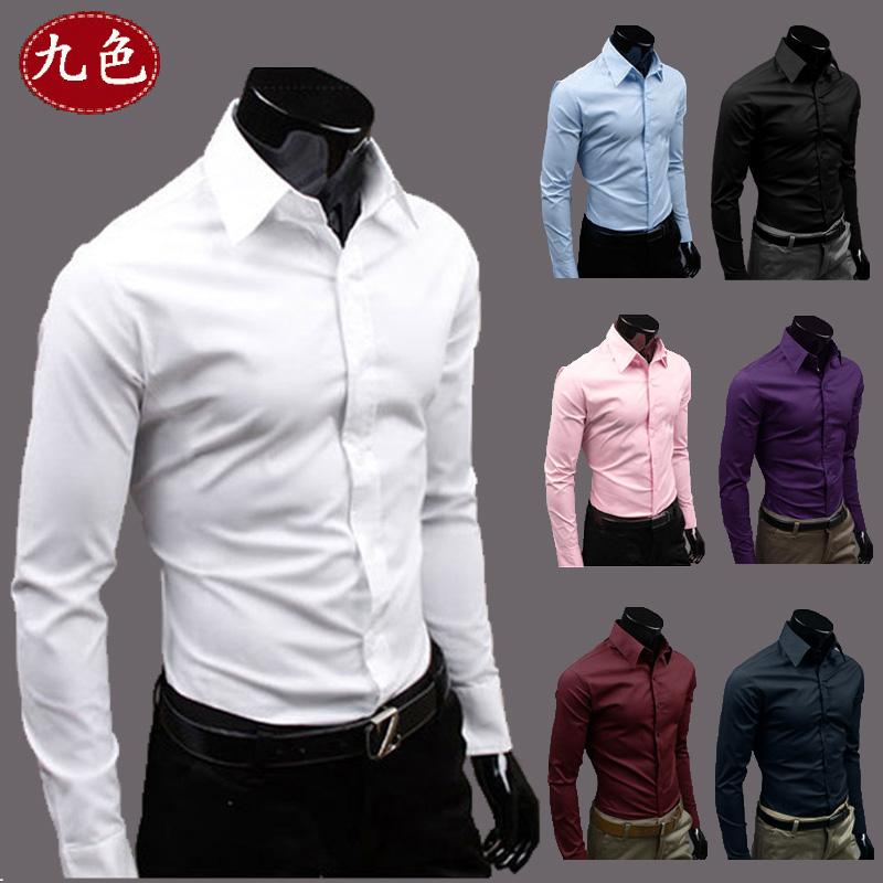JVR 2015 весной новые мужские сплошной цвет рубашки мужские Корейский волны случайные тонкий длинный рукав рубашки мужские
