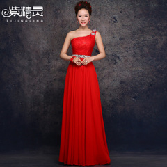 Purple Fairy long red one-shoulder dresses bride wedding toast clothing corset diamond lace evening dress 2014