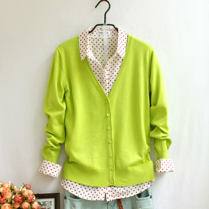 Spring and autumn knitted cardigan with button and hem basic long sleeve cardigan for women