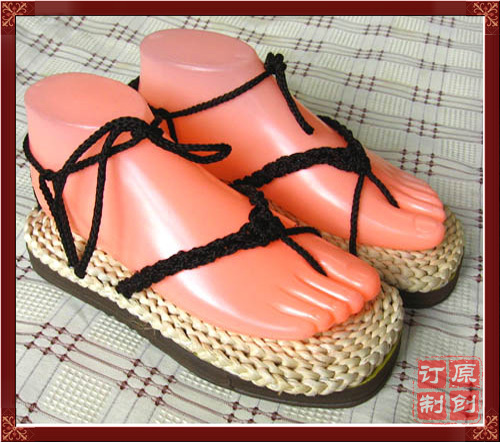Package death Cosplay accessories straw sandals mens dance performance pure hand fashion straw shoes