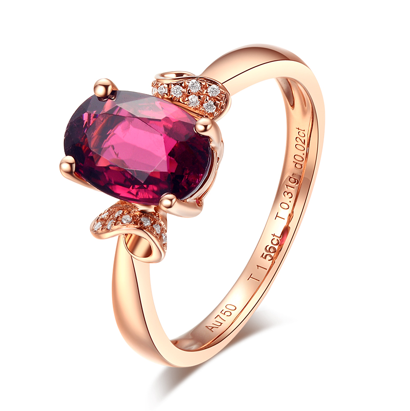 Shengdebao 18k rose gold natural diamond tourmaline female ring Tourmaline Ring natural tourmaline