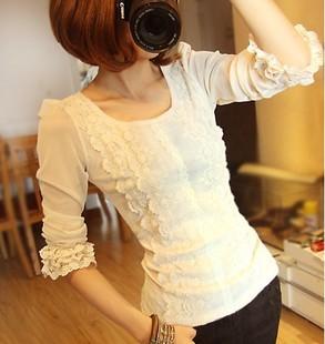 2015新款韩版修身荷叶袖网纱刺绣蕾丝衫蕾丝打底衫长袖T恤女T恤