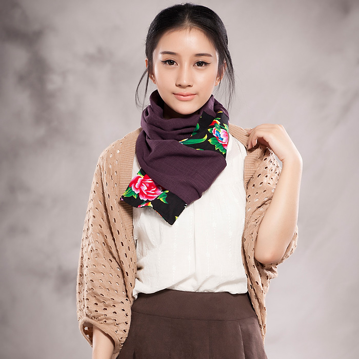 Mulberry picking original national style hemp cotton scarf artistic model pure color old womens cloth changeable neck scarf super long