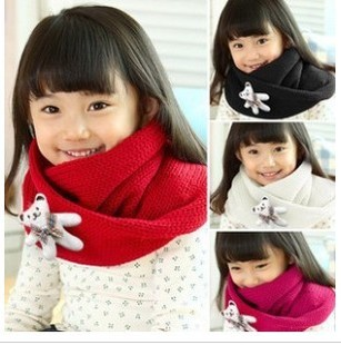 Korean wool scarf infants and children boys and girls baby bear brooch parent child warm winter scarf scarf