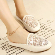 Email Korean version 2015 new rhinestone women summer slippers home slippers with female baotou mesh half