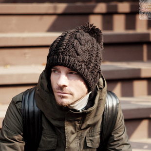 2014新 韩国韩版秋冬季 男士女士冬天针织手工羊毛线帽子加厚保暖