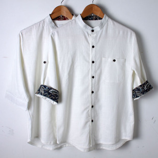 Japanese costume 2014 new men s short sleeved linen shirt to increase men s casual cotton shirt male Chinese
