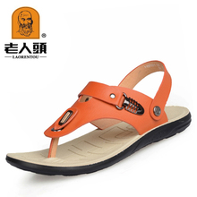 164883d6779 Authentic old head man sandals flip-flops soft leather leisure men s sandal  thong sandals cool